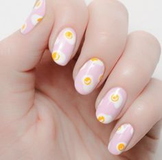 Easy Nail Art Designs-SCRAMBLED EGGS A mani inspired by our favorite breakfast food? Yes, please. Visit redbookmag.com for more nail trends.