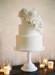 A Classic Three-Tiered Wedding Cake. Drawing inspiration from the bride's wedding gown, Melody Brandon of Sweet & Saucy Shop created this all-white cake featuring scalloped fondant lace and a cluster of white sugar flowers that matched her bridal bouquet. All White Wedding, White Wedding Cakes, Beautiful Wedding Cakes, Beautiful Cakes, Cake Wedding, Rustic Wedding, Dream Wedding, White Cakes, Elegant Wedding