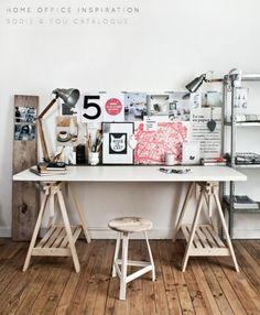 Artistic & Industrial Home Office – Bright.Bazaar: - Home Office Decoration Home Office Inspiration, Workspace Inspiration, Room Inspiration, Kitchen Inspiration, Industrial Home Offices, Industrial House, Industrial Stool, Industrial Design, Kitchen Industrial