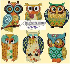 CUTE OWLS - in Autumn Colors-cute and colorful. You can use the design for motifs or a portrait sampler. Stitch Count: 154 width x 139 height Design size: 11w x 10h inches on 14 count Fabric colour: Cream 19 DMC Thread Colors Pattern have 4 pages, overlaps are shaded. Chart have red