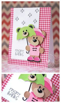 Adorable card around the Silhouette shape Rainy Day Bear with Umbrella.