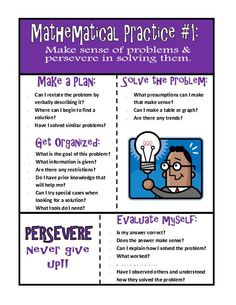 TeacherLingo.com $10.00 - A set of 8 posters depicting good mathematical practice tips. Each poster uses bright colors and interesting text to break down the key components to that mathematical practice with examples, synonyms and diagrams/images. This PDF version can be printed in Mathematical Practices Posters, Mathematics, Elementary Math, Upper Elementary, Math School, Make A Plan, 5th Grade Math, 5th Grades, Make Sense