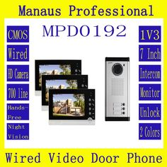 260.83$  Watch more here  - D192b Hot Selling Smart Home 1V3 Intercom System One to Three Video Doorbell 7 Inch Display 6 IR Lamps Cable Visible Interphone
