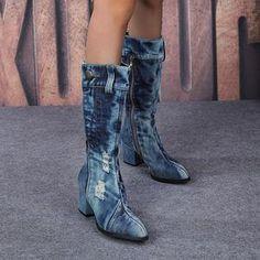 Yivette Botas Black Round Toe Chunky Heel Vintage Botas – yivette Chunky Heels, Toe, Denim, Casual, Vintage, Black, Fashion, Woman Clothing, Zapatos