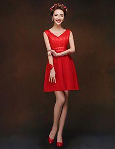 Egy-line / hercegnő pántok rövid / mini koszorúslány ruha (819)