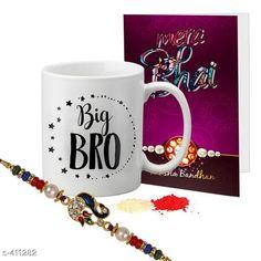 Rakhi Fancy Mug & Rakhi Combo Material: Mug: Ceramic                Rakhi: Beads/ Thread Size: Mug- 325 ml Description: It Has 1 Piece Of Mug 1 Piece Of Beautiful Greeting Card & 1 Piece Of Rakhi Country of Origin: India Sizes Available: Un Stitched, Free Size, Semi Stitched   Catalog Rating: ★4.1 (444)  Catalog Name: Rakhi Fest Special Greeting Cards & Mugs Combo Vol 2 CatalogID_44463 C77-SC1266 Code: 452-411282-525