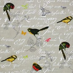 French by name, french by nature: Bonheur is a print collection with a strong Provincial look. Base cloths are linen and cotton in a variety of weights . Color Inspiration, Fabrics, Colours, Bird, Unique, Nature, Photography, House, Painting