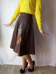Brown Skirt with Handpainted flowers.One of a by DorasDressRoom