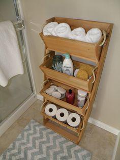 """2, 3 or 4 bin 16"""" cedar bathroom storage bin kit, patio, condo, ego living, cedar, small space, organizer, storage bin, bathroom system,"""