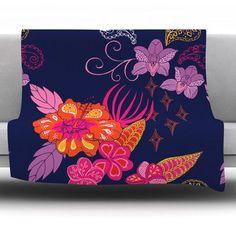 Kess InHouse Pellerina Design Spring Florals Blush Peony Fleece Throw Blanket 40 x 30