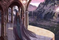 Last painting of the year! Arwen in Imladris (Rivendell) Architectural details from the Hobbit movie. Thranduil, Fantasy Places, Fantasy World, Fantasy Art, Tolkien, Arwen Undomiel, Elven Queen, History Of Middle Earth, Glorfindel