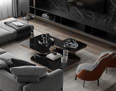 Living Room Modern, Living Room Designs, Living Room Decor, Interior Design Presentation, Home Interior Design, Luxury Furniture, Furniture Design, Center Table Living Room, Master Bedroom Bathroom