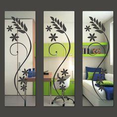 Espelho Decorativo em Acrílico Quadrados Florais