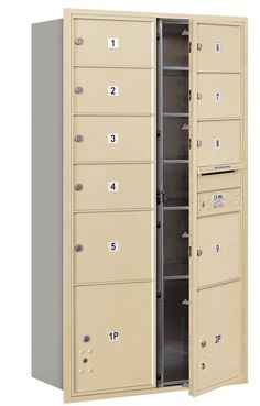 4C Horizontal Mailbox Maximum Height Unit Double Column 9 Doors and 2 Parcel Lockers Front Loading Private Access
