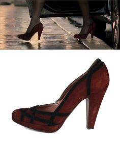 ALAIA Burgundy Black Suede Platform Pumps worn by Miranda Priestly ('The Devil wears Prada')