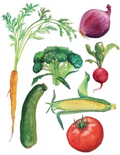 Vegetables Watercolor by AprylMade on Etsy