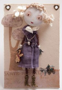 OOAK-Collecting-Art-Doll-Brooch-Handmade-Little-Girl-and-Bunny