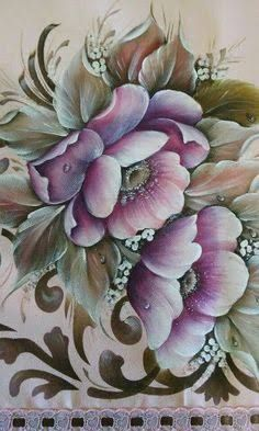 Resultado de imagem para pinterest rosa lozovei #pinturasobretela Tole Painting, Fabric Painting, Painting & Drawing, Art Floral, Folk Embroidery, Embroidery Patterns, Pintura Tole, Pinterest Pinturas, Embroidery Techniques
