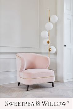 Add a sense of retro glamour to your home with the gorgeous and exclusive Mia Armchair! Upholstered in a luscious fabric and elevated on dark wenge legs, this Mid Century-inspired beauty is adorned with dazzling, hand applied brass-effect studding and makes a glamorous statement seat for any living space. #sweetpeaandwillow #retroglamour #midcenturymodern #pinkvelvetchair Pink Velvet Chair, Velvet Armchair, Willow Furniture, Living Room Decor, Living Spaces, Pink Home Decor, Modern Art Deco, Upholstered Arm Chair, Modern Armchair
