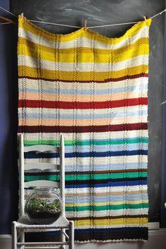 Vintage Afghan Blanket Multi Color Striped Throw