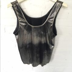 Metallic tank Metallic tank top with two textures and colors on either side. This is the perfect top to go out in. From Cinema Etoile is a size medium. *american apparel for exposure* American Apparel Tops Tank Tops