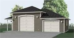 High Bay Combo 2 Car Garage Plan 832-1SP With Side Porch