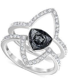 Swarovski Silver-Tone 2-Pc. Set Black Crystal and Pave Statement Rings