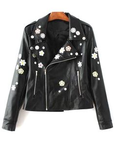 Jackets | Stylish Floral Embroidered Lapel Collar Faux Leather Jacket For Women #fashion #style #floral #jacket
