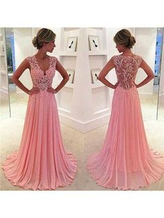 b2f002f454 Chiffon Lace V-neck Pink Pom Dresses. Prom Party ...