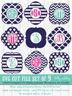 Monogram SVG Files Set of 9 cutting files SVG/PNG/jpg formats frame svg monogram frame silhouette (colors/letters for display only} Cricut Monogram, Free Monogram, Monogram Shirts, Monogram Decal, Monogram Frame, Cricut Vinyl, Personalized T Shirts, Vinyl Decals, Cricut Air