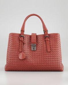 Roma Medium Woven Compartment Tote Bag, Dark Red by Bottega Veneta