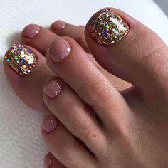 Glitter Toe Nails, Gel Toe Nails, Gel Toes, Feet Nails, Pedicure Nails, Toe Nail Art, Pedicure Ideas, Pedicure Designs, Glitter Pedicure
