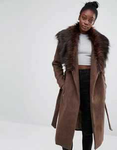 Shop the latest Only Drape Faux Fur Collar Coat trends with ASOS! Free delivery and returns (Ts&Cs apply), order today! Winter Coats Women, Coats For Women, Jackets For Women, Mode Mantel, Faux Fur Collar Coat, Asos, Girls Fashion Clothes, Lightweight Jacket, Chambray