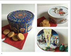 Vintage Christmas Tins,  Biscuit tins, Christmas Cookie Tin, Holiday Containers, Gift Tins, Cookie Storage,  3 Collectible  Decorative Tins