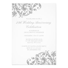 25th Wedding Anniversary Silver Swirl Flourish Invitation