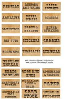 Free printable organizing labels - just what I was looking for to organise my stash! Printable Labels, Printable Paper, Free Printables, Printable Vintage, Printable Recipe, Vinyl Labels, Organizing Labels, Craft Organization, Craft Storage