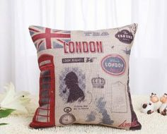 Claybox Decorative 18 x 18 Inch Linen Cloth Pillow Cover Cushion Case, Welcome to London