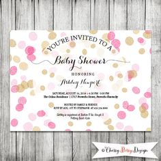 Pink and Gold Confetti Baby Shower Invite - 5x7 JPG by CherryBerryDesign on Etsy https://www.etsy.com/listing/202973913/pink-and-gold-confetti-baby-shower