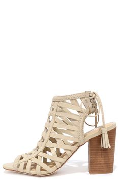 Sbicca Geovana Beige Leather High Heel Sandals