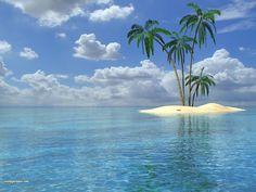 Ocean Blue Palm Trees Clouds Starfish Carribia Wallpaper   WallpaperMine.com