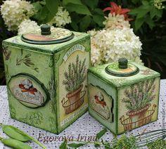 Купить Набор коробов Ароматные травы - салатовый, набор для кухни, короб для хранения, короб