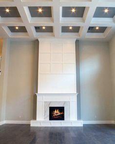 High Ceiling Living Room, Home Ceiling, Bedroom Ceiling, Ceiling Ideas, White Fireplace, Fireplace Design, Dream Home Design, House Design, Living Room Designs