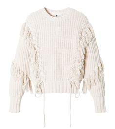 ルシェルブルー/LE CIEL BLEU - フリンジニットトップス-WHITE(ニット/knit) | RESTIR リステア Knitwear Fashion, Knit Fashion, Boho Fashion, Fashion Design, Chunky Knitwear, Warm Outfits, Knitting Designs, Knit Patterns, Fashion Brands