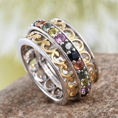 Multi-Sapphire 14K Yellow Gold and Platinum Over Sterling Silver Spinner Openwork Band Ring