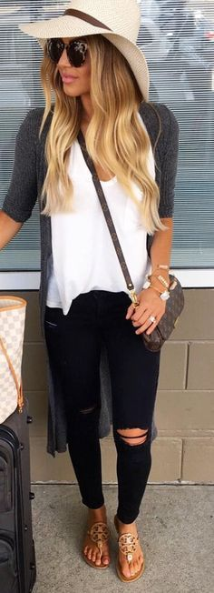 white tee, floppy hat, casual spring outfit