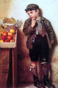 Eyeing The Fruit Stand - George John Brown
