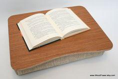 "Wood Laptop Bed Tray / iPad Table / Pillow Tray / Breakfast Tray / Laptop Stand ""Teak Light"""