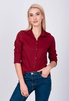 Asymetrická dámska bordová košeľa s trojštvrťovým rukávom - ROUZIT. Blouses, Buttons, Outfit, Long Sleeve, Sleeves, Women, Fashion, Outfits, Moda