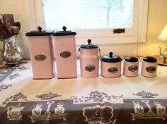 Vintage Pink Enamelware Kitchen Canisters by WHITNEYandCO on Etsy, $75.00. love these!