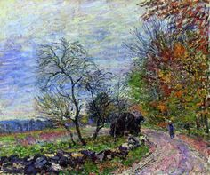 Alfred Sisley (French, 1839-1899) - Along the Woods in Autumn, 1885